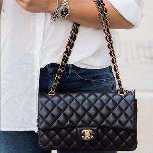New CHANEL Double Flap Medium Quilt Bag Purse GVNT